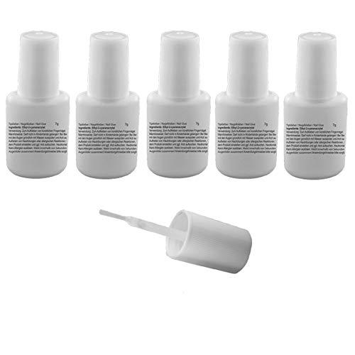 Lot de 5 flacons de colle à ongles de 7 g avec flacon pinceau - Colle à ongles pour l'application de faux ongles - Colle transparente avec flacon pinceau