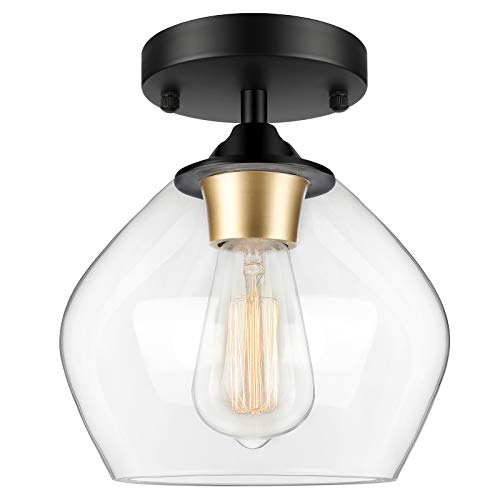 Modern Semi Flush Mount Ceiling Light with Clear Glass Shade, Industrial Close to Ceiling Light, Black Hanging Ceiling Light Fixture for Hallway, Bedroom, Dining Room, Entryway, Foyer