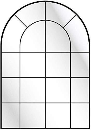 CustomGlass Espejo Pared con decoración Personalizada Modelo Industrial de Medio Punto 95 x 60 cm