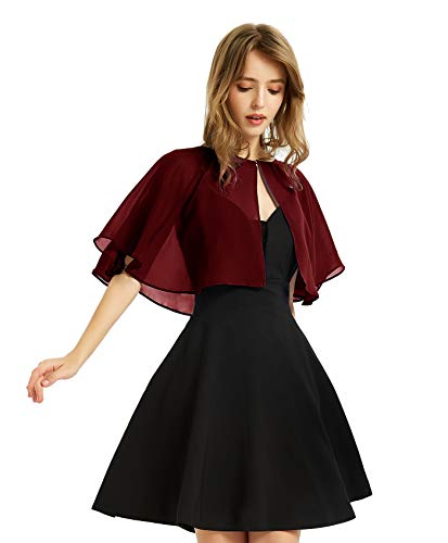 Women's Soft Chiffon Shawl Wraps Shrug for Evening Dress Wedding Cape Bolero Flapper Cover Up(Deep Wine Red)