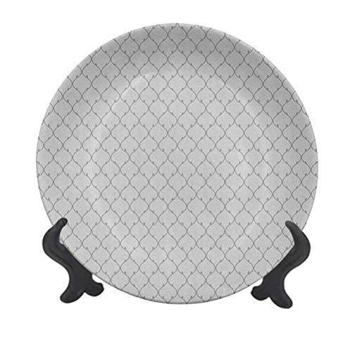 Plato decorativo geométrico de cerámica de 25,4 cm, diseño abstracto de culturas orientales inspiradas en líneas curvas, retro japonés, diseño ornamental decorativo de cerámica para mesa de Navidad
