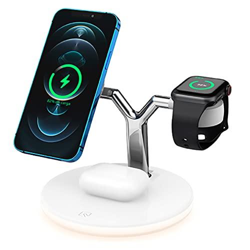 BlueBee - Nuevo Cargador inalámbrico magnético rápido 3 en 1, Compatible con QI, Compatible con iPhone 12 Pro MAX iWatch Airpods Soporte para teléfono de Escritorio con Carga inalámbrica (Blanco)