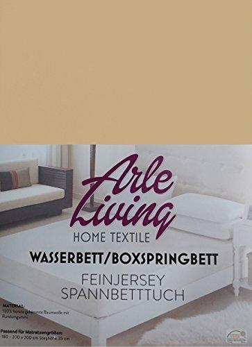 Arle-Living Hochwertige Wasserbett/Boxspringbett Feinjersey Spannbettlaken Sand/Sand/Sable 180x200 cm - 35cm Steghöhe - Spannbetttuch Rundumgummi