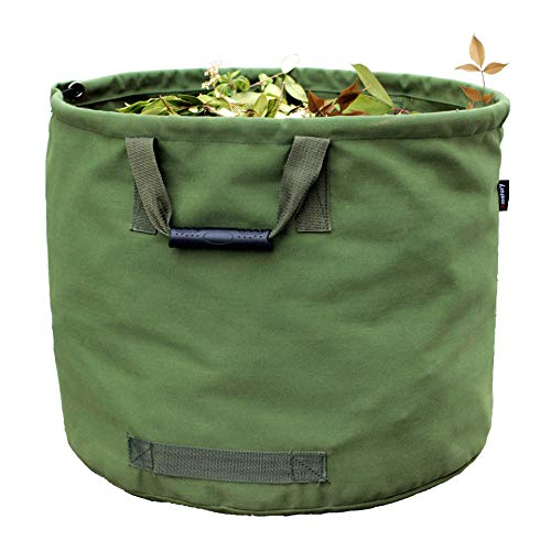 of lawn leaf bags Garden Lawn Leaf Bag Container Holder Yard Waste Trash Debris Garbage Basket Bucket Tote Grass Reusable Canvas Fabric Heavy Duty (Bag Green)