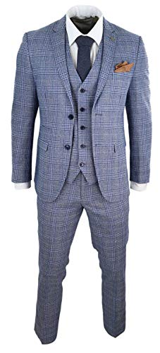 Paul Andrew Herrenanzug 3 Teilig Blau Vintage Gatsby 1920s Design Tailored Fit - blau 52EU/42UK Sakko- 36