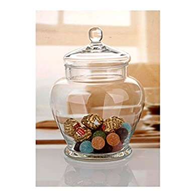 Elegant Clear Glass Apothecary Jar with Lid -11-inch High Glass Canister-Decorative & Party Centerpiece
