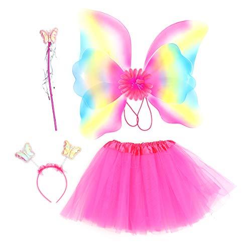 PRETYZOOM 4pcs LED Conjunto de Disfraz de Hadas Princesa para Niña Alas de Mariposa con Varita mágica Diadema Falda Tutu Disfraz para Fiesta Carnaval (Rosa roja)