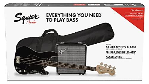 Fender Squier Affinity Precision Bass PJ Laurel Black + Funda + Rumble 15. Pack Bajo Eléctrico