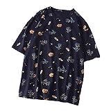 FRAUIT Mujer Camiseta de Verano Manga Corta Impresión de Dinosaurio Cuello Redondo Blusa T-Shirt Casuales Moda Suelto Impresión Camisa Elegante Loose Simple Blusa Camiseta Tops