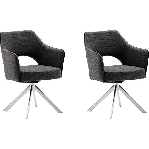 MCA - TONALA 4 Fuß Stuhl mit Armlehne - Anthrazit, Edelstahl