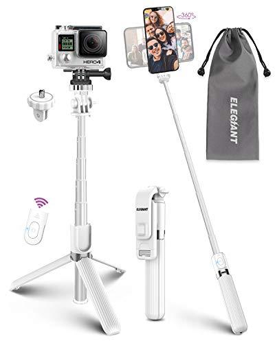 Palo Selfie Trípode, ELEGIANT Selfie Stick 4 en 1 con Control Remoto Bluetooth, Calidad Aluminio, para Cámara Deportiva, Gopro, para Viaje Rotación de 360° Compatible con iOS Android (4-6.8 Pulgadas)