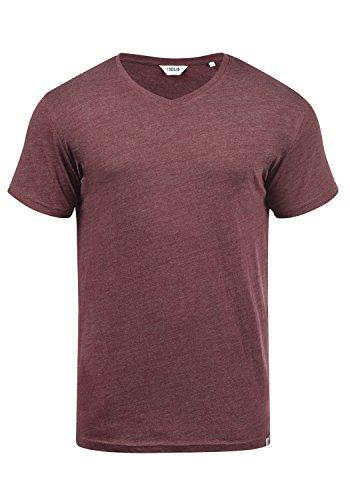 !Solid Bedo Herren T-Shirt Kurzarm Shirt Mit V-Ausschnitt Aus 100% Baumwolle, Größe:XL, Farbe:Wine Red Melange (8985)