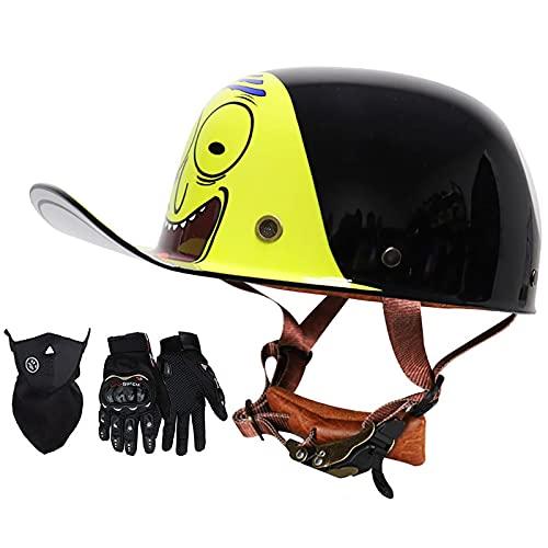 Casco Retro De La Gorra De Béisbol De La Motocicleta, Máscara + Guantes Cómodo Forro Transpirable Bicicleta Eléctrica Scooter Medio Casco Certificación Dot