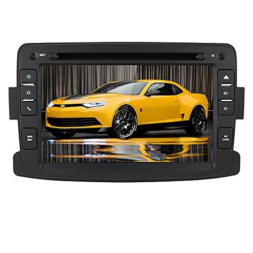 Radio para coche Android 10 con navegación GPS Bluetooth para Dacia Renault Dokker Duster Logan Sandero Dacia Renault 2012-2017, 1 Din 7 pulgadas Pantalla táctil Reproductor de DVD para coche Radio