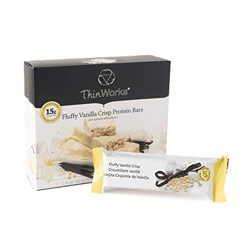 ThinWorks Fluffy Vanilla Crisp Low-Carb Protein Bars, Low-Calorie Snacks for Weight Loss and Healthy Meals