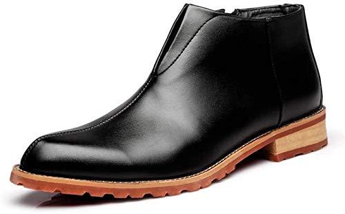 Zapatos de Hombre Microfibra de la bota del tobillo botina Hombres tire de la cremallera Con elásticos Zapatos pulseras cuero cosido con experiencia soles bloque del talón del dedo del pie puntiagudo
