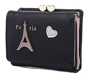 moca Cute Eiffel Short Mini Wallet Purse for Womens Girls Ladies Short Mini Small Clutch Wallet Cash Card Coin Holder Purse for Womens Women's Ladies Girls (Black)