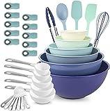 XUFAN Necesidades de la Cocina Bundle- Set de Utensilios de Cocina, Tazas de medir, cucharas dosificadoras, Mixing Bowls, y la Bolsa de Clips (Azul/Blanco) Cuencos para Mezclar (Color : A)