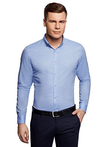 oodji Ultra Uomo Camicia Slim Fit con Maniche Lunghe, Blu, 40