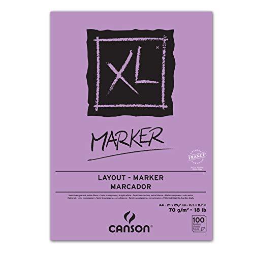 Canson 297236 Zeichenblock XL Marker, DIN A4, 70 g/qm, 100 Blatt, weiß