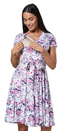 Happy Mama.Damen 2in1 Umstands gerafften Stillkleid Doppelschicht Kurzarm.598p (Wei?e Rosafarbene Blumen, 40, L)