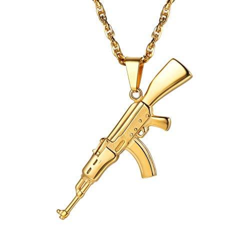 PROSTEEL Herren Halskette AK47 Armee Gewehr Anhänger 18k vergoldet Herren Jungen Rock Stil Modeschmuck mit 60cm Singapurkette, Gold