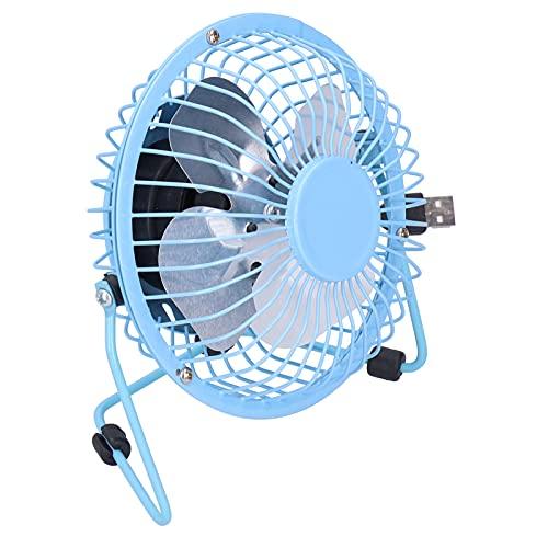 Zhat Mini Ventilador, Ventilador USB silencioso Cuchilla de Aluminio portátil giratoria de 360 Grados para Oficina para el hogar(Blue)