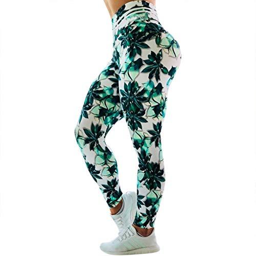 Xmiral Yoga Hosen Damen Leggings Gamaschen Gedruckte Hohe Taille Sporthose Elastizität Hosen Laufen Joggen Fitnessstudio Trainieren(B,M)