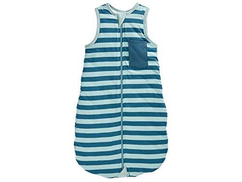 Bio Baby Schlafsack Jersey kurzarm 100% Bio-Baumwolle (kbA) GOTS zertifiziert, Streifen Blau, 90 cm