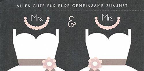 Hochwertige Hochzeitskarte, Glückwunschkarte, gleichgeschlechtlich Frau & Frau ( Kleid)