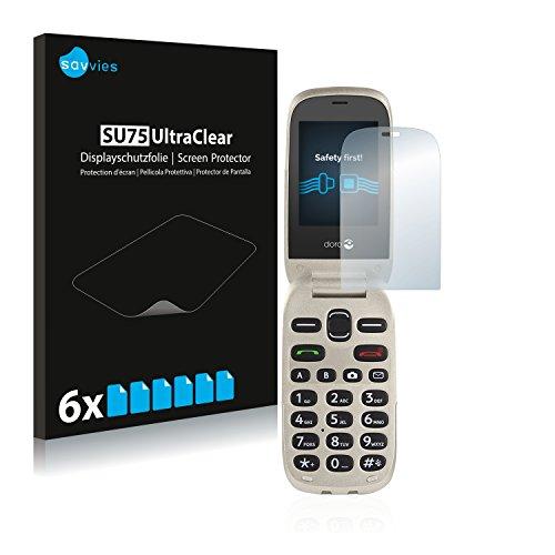 Savvies 6X Schutzfolie kompatibel mit Doro 6030 Bildschirmschutz-Folie Ultra-transparent