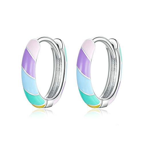 Pendientes De Aro Plata De Ley 925,S925 Silver Creative Colorful Drip Glaze Stripes Rainbow Fashion Pendientes Con Bisagras Hipoalergénicos Únicos Círculo Fino Joyas De Bucle Sin Fin Para Mujeres