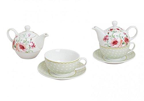 Tea for one Teekanne Tasse Rose Porzellan