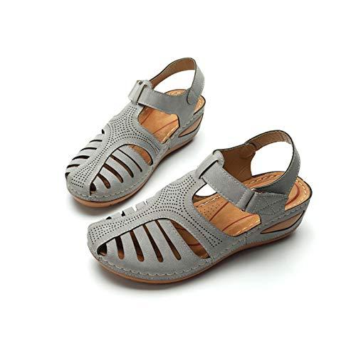 Soft PU Leather Closed Toe Vintage Anti-Slip Sandals, Women's Closed Toe Sandals,...