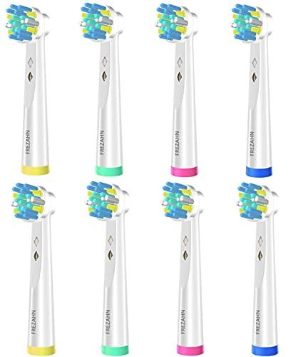 FREZAHN 8er Tiefenreinigung Aufsteckbürsten für Oral B Zahnbürstenköpfe, Ersatzbürsten kompatibel mit Oral-B elektrische Zahnbürsten, Weiße Aufsätze