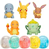 Throw 'N' Pop Poké Ball and Battle Action Figures Set with 5 Pokeballs & 5 Poke Heroes Figures - Includes Pikachu, Eevee, Bulbasaur, Squirtle and Charmander Figure - Perfect for Any Trainer