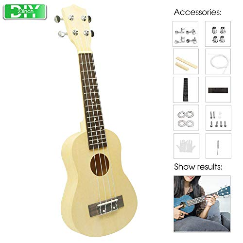 DIY Ukelele Kit,4 String Maple Basswood Soprano Ukulele Accessory Paintable and dyeable,Send screwdriver and gloves, for Beginners Kids Adults School Project Art Project (23inch)