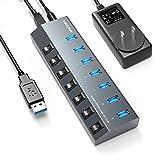 USB HUB 3.0 Powered, Wavlink 7 Ports 48W USB Hub Splitter with Individual