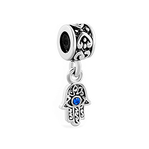 Third Time Charm Hamsa Hand Blue Evil Eye Dangle Charm Beads for European Charms Bracelets
