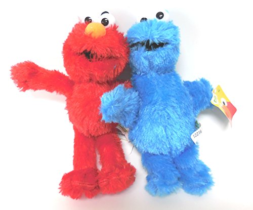 Sesame Street 2 Cuddly Toys Elmo and Cookie Monster Muppets 20cm (Sesame Tree)