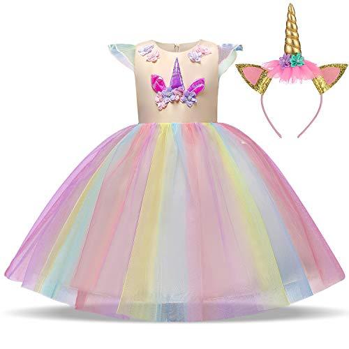TTYAOVO Chicas Unicornio Fancy Vestido Princesa Flor Desfile de Niños Vestidos sin Mangas Volantes Vestido de Fiesta Talla 5-6 Años Amarillo
