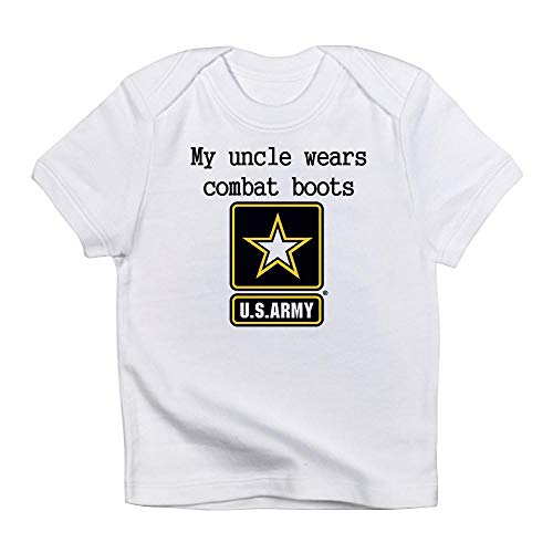 CafePress My Uncle Wears Combat Boots Army Infant T Shirt Cute Infant T-Shirt, 100% Cotton Baby Shirt Cloud White