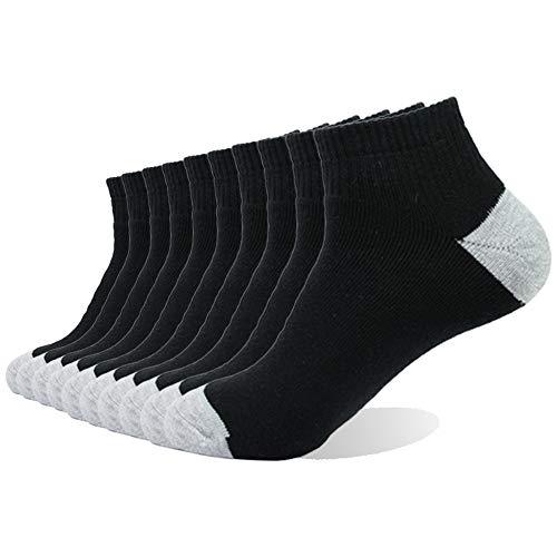 Enerwear 10P Pack Men's Cotton Moisture Wicking Extra Heavy Cushion Low Cut Socks … (10-13/Shoe: 6-12, Black)