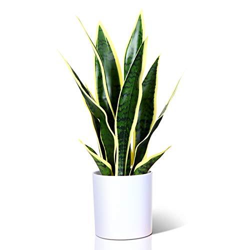 CROSOFMI Kunstpflanze 40 cm Mini Künstliche Pflanze Bogenhanf Kunstpflanzen im Plastik Blumentopf Badezimmer Wohnzimmer Büro Küche Modern Grün Deko (1 Pack)