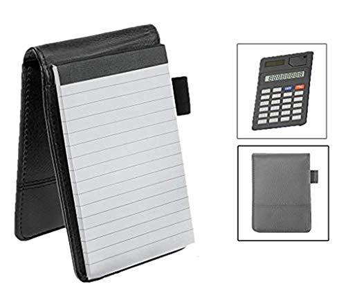 Taccuino tascabile formato A7 in pelle sintetica con blocco a righe e calcolatrice. Taccuino compatto per appunti di lavoro, agenda personale, blocco con penna  Nero