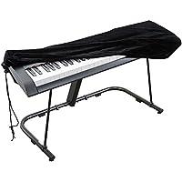 Cubierta para el teclado de piano, cubierta protectora tramo de terciopelo con cordón elástico ajustable para 61 teclas del teclado, piano digital, Yamaha, Casio, Roland.Con una cerradura(Negro)