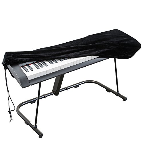 Abdeckung für Klaviertastatur, Stretch-Samt Schutzabdeckung mit verstellbaren, elastischen Schnur und Verriegeln für 88 Tasten-Tastatur, Digitalpiano Yamaha Casio Roland Konsolen und mehr (schwarz)