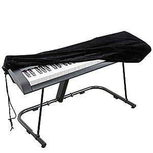 Cubierta para el teclado de piano, cubierta protectora tramo de terciopelo con cordón elástico ajustable para 76 teclas del teclado, piano digital, Yamaha, Casio, Roland. Con una cerradura(Negro)