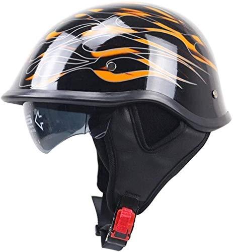 YLFC Casco Moto Abierto ECE Homologado Retro Half Moto Cascos Helmet con Visera Casco Moto Jet Mofa Crash Cruiser Scooter Biker Racing Hombres Y Mujeres (Color : 1, Size : 2XL)