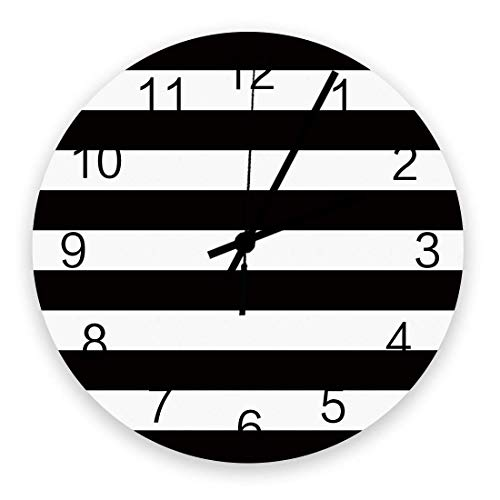 Reloj de pared silencioso que no hace tictac Sencillo patrón de rayas blancas y negras Funciona con pilas, decoración de la pared del hogar para la sala de estar, cocina, dormitorio y patio de 10 pulg